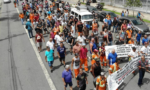 Santos City Hall - Sindestiva members marching on the streets of Santos